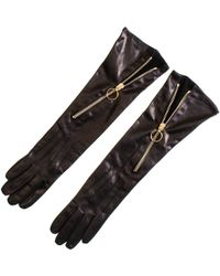 Black.co.uk Long Black Leather Gloves With Diagonal Zip - Lyst
