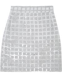 Teatum Jones - Grey Ivy Metallic Grid Mini Skirt - Lyst