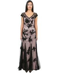 Sue Wong Lace Godet Gown - Lyst