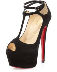 Christian Louboutin Talitha Suede T-Strap Red Sole Sandal - Lyst