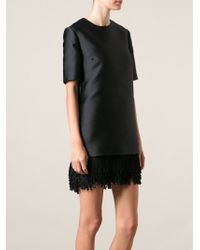 Stella McCartney Fringed Hem Shift Dress - Lyst