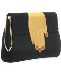 Charlotte Olympia The Hand Bag Suede Clutch - Lyst