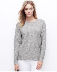 Ann Taylor Petite Side Zip Sweatshirt - Lyst