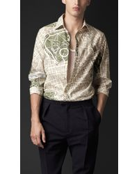 Burberry London London Map Print Cotton Silk Shirt - Lyst