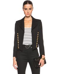 Saint Laurent Spencer Twill Officer Jacket - Lyst