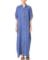 Michael Kors Mariner Stripe Silk-Georgette Caftan - Lyst