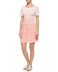 Trina Turk Martinique Short-Sleeve Zigzag Fit & Flare Dress - Lyst