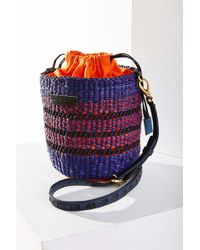 Aaks - Pins Mini Raffia & Leather Bucket Bag - Lyst