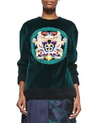 Mary Katrantzou Embellished Medallion Velvet Sweatshirt - Lyst