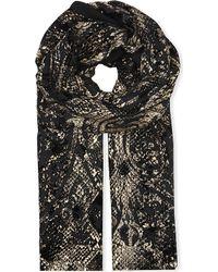 Roberto Cavalli Metallic Silk Scarf Black - Lyst