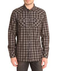 Diesel S-Bahir Grey Checked Velvet Shirt - Lyst