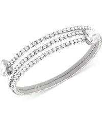 Swarovski Twisty Silver-tone Crystal Triangle Bangle Bracelet - Lyst