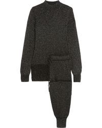 Victoria, Victoria Beckham - Metallic Knitted Sweater And Pants Set - Lyst
