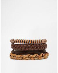 ASOS - Multi Beaded Bracelet Pack In Brown And Gold - Brown - Lyst