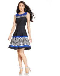 Tahari By Asl Petite Border-print Pleated Dress - Lyst