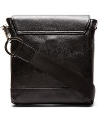 Diesel Black Gold Black Grained Leather Crossbody Bag - Lyst
