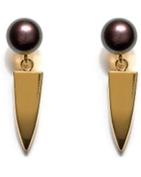 Lizzie Fortunato Pearl Dagger Earrings In Peacock gold - Lyst
