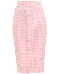 Altuzarra Balthazar Gingham-Print Seersucker Skirt pink - Lyst
