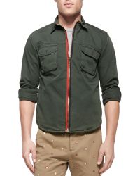 Band Of Outsiders Zip-front Twill Shirt Jacket - Lyst