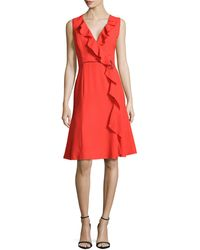 Carolina Herrera Ruffle-trim Mock-wrap Dress - Lyst
