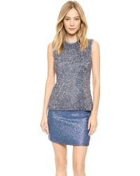 Rodarte Sequined Satin Top - Grey Blue - Lyst
