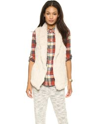 June Knit Fur Vest Putty - Lyst