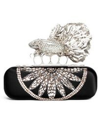 Alexander McQueen Crystal Punk Fish Satin Long Knuckle Box Clutch black - Lyst