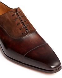 Magnanni | Cap Toe Leather Suede Combo Oxfords | Lyst