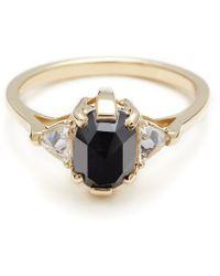 Anna Sheffield Oval Bea Ring - Black Diamond - Lyst