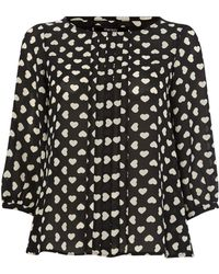 Therapy Heart Print Wrap Back Blouse - Lyst