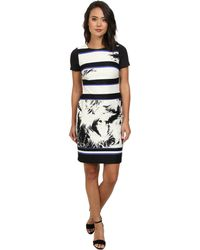 Vince Camuto Printed Scuba Dress - Lyst