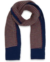 Folk - Red and Navy Reverse Knit Wool Scarf - Lyst