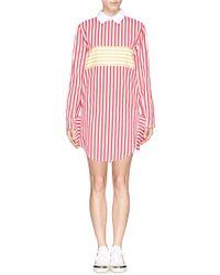 Anna K Stripe Twill Collar Dress red - Lyst