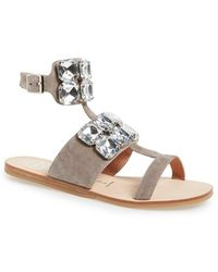 Jeffrey Campbell Women'S 'Sabita' Jeweled Suede Ankle Strap Sandal - Lyst