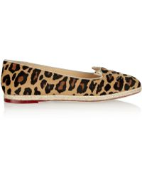 Charlotte Olympia Capri Cats Leopard-Print Calf Hair Espadrille Flats - Lyst