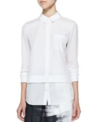 Vince Mixed-fabric Layered Blouse - Lyst