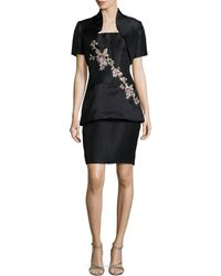 Helen Morley - Strapless Floral-embroidered Cocktail Dress W/ Bolero - Lyst