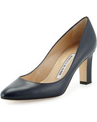 Manolo Blahnik Lisaqua Leather Almond-toe Pump - Lyst