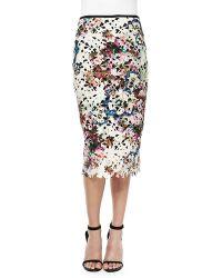 Nicole Miller Artelier - Floral Lace Pencil Skirt - Lyst