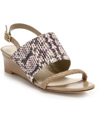 Cole Haan Lise Leather & Snake-Embossed Leather Wedge Sandals beige - Lyst