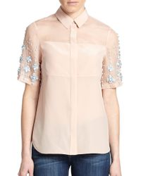 Rebecca Taylor Silk Bead-Detail Top pink - Lyst