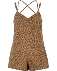 River Island Brown Animal Print Denim Playsuit - Lyst