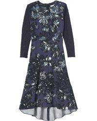 Rebecca Taylor Embellished Splashy Flower Print Dress - Lyst