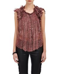 Isabel Marant Pleated Georgette Marcia Blouse red - Lyst