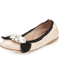Miu Miu Patent Jeweled-Bow Ballet Flat - Lyst