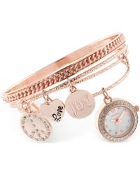 Style & Co. - Women's Rose Gold-tone Charm 3-pc. Bangle Bracelet Watch Set 20mm Sy012rg, Only At Macy's - Lyst