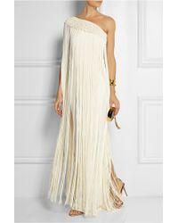 Temperley London Long Tassel Fringed Silk-Crepe Gown - Lyst