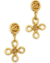 What Goes Around Comes Around Vintage Chanel Twist Cross Dangle Earrings - Gold - Lyst