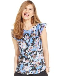 Cece by Cynthia Steffe - Flutter-sleeve Printed Top - Lyst
