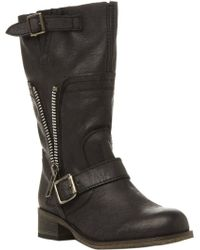 Steve Madden Deziary Leather Biker Boots - Lyst